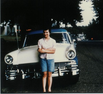 old picture mom in front of car