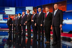 Republican presidential candidates from left, Chris Christie, Marco Rubio, Ben Carson, Scott Walker, Donald Trump, Jeb Bush, Mike Huckabee, Ted Cruz, Rand Paul, and John Kasich take the stage for the first Republican presidential debate at the Quicken Loans Arena Thursday, Aug. 6, 2015, in Cleveland. (AP Photo/John Minchillo) ORG XMIT: OHJM122