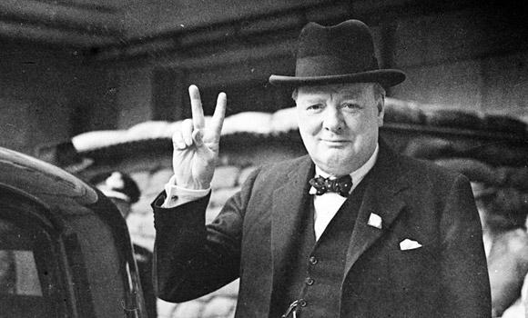 Winston-Churchill Victory sign