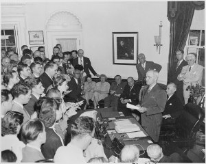 Truman Oval Office announcing surrender of Japan