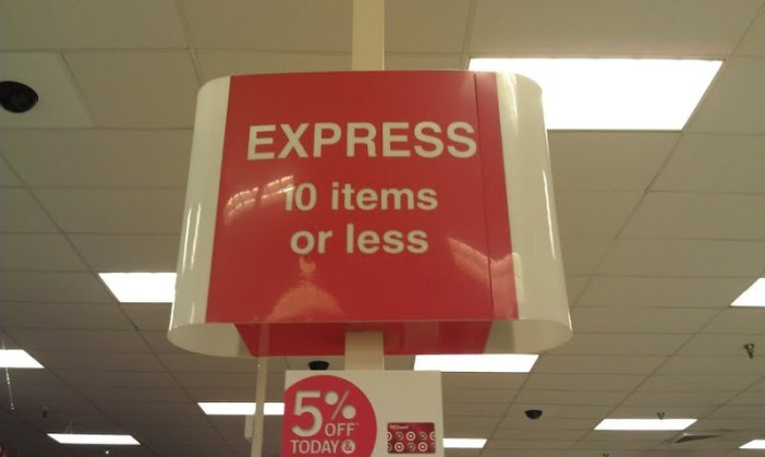 10 items or less sign in grocery store