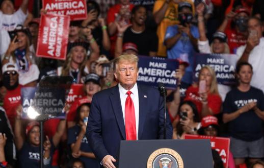Trump at Tulsa Rally during COVID 19 Pandemic