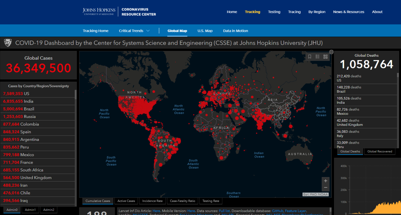 USA Tops COVID-19 Cases and Deaths Map from Johns Hopkins